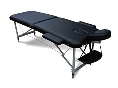 FoxHunter Deluxe Portable Lightweight Massage Table Beauty Couch Therapy Bed Folded 2 Section Aluminium Frame Black with Headrest Armsupport Free Cover and Carrying Bag - inexpensive UK light shop.