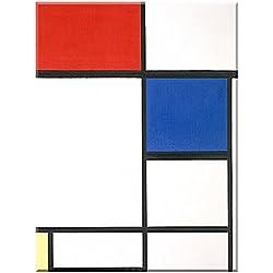 Composición II con Rojo, Azul y ... - cuadro en lienzo, Piet Mondrian, 60 cm x 80 cm, impresión sobre lienzo artístico, impresión digital de alta calidad, enmarcado en bastidores de madera con colgador, arte de museo, cuadro clásico, arte abstracto, imagen para colgar directamente en la pared
