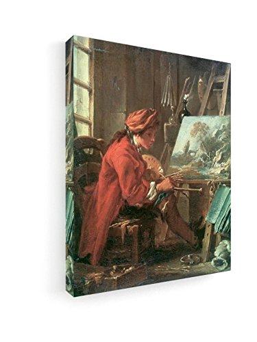 Francois Boucher - der Maler in seinem Atelier - 60x75 cm - Premium Leinwandbild auf Keilrahmen -...