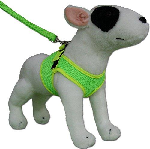 Neon Hundegeschirr Geschirr Weste Fluoreszierend - Leuchtet im Dunkeln - 2 versch. Farben (XXS, neon gelb/grün)