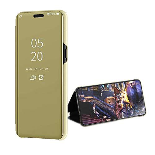 Compatible Funda Translucent Xiaomi Redmi GO/5A Oro, Inteligente Teléfono Carcasa Espejo Mirror Window View, Espejo de Maquillaje Mirror Flip, Estéreo Soporte Pioneer