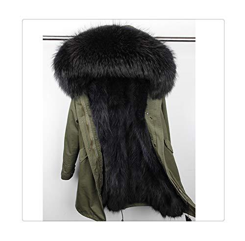 fur Coat Parkas Winter Jacket Coat Women Parka Big real Raccoon fur Collar Natural Fox fur Liner Long Outerwear 56 L