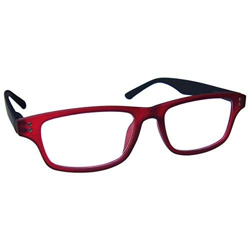 UV Reader Gommato Rosso Nero Occhiali da Lettura Uomo Donna UVR033 Diottria +1,00