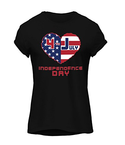 Catch T-Shirts - American Independence Day Flags Collection Women's Megan Crew Neck T-Shirt Nero X-Large