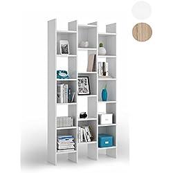 Habitdesign 002256BO - Estantería librería, estanteria comedor acabada en Blanco, medidas: 192x96x29 cm de fondo
