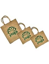 Maheshwari Jute Bag For Lunch & Shopping, Beige & Maroon Bag, Beige Bag, 16 X 4 X 14 Inches, Pack Of 3 Bags
