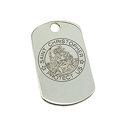 Personalised With Your Engraving Solid 9ct White Gold Engraved St Christopher Dog Tag Pendant In Gift Box