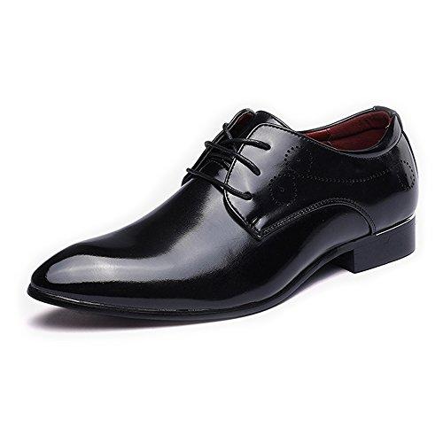 Sunny&baby scarpe classiche da uomo smooth upper pu in pelle con lacci e puntali in fodera traspirante resistente all'abrasione ( color : nero , dimensione : 45 eu )