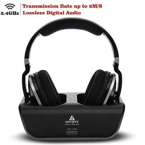 Artiste ADH300 Wireless TV Kopfhörer, 2.4GHz UHF / RF Digital Over-Ear Stereo Kopfhörer für TV, 100ft Distanz Sender Wiederaufladbare Lade Dock (Schwarz)