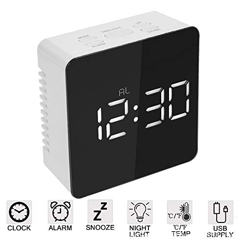 COOMOOC LED digital Simple Electric Double Alarm Clock Mirror, Snooze in Weekday Mode, 2 Levels of Adjustable Brightness for Daily Life in The Home Office, travel and Heavy Sleep, Square White Light White Square Clock