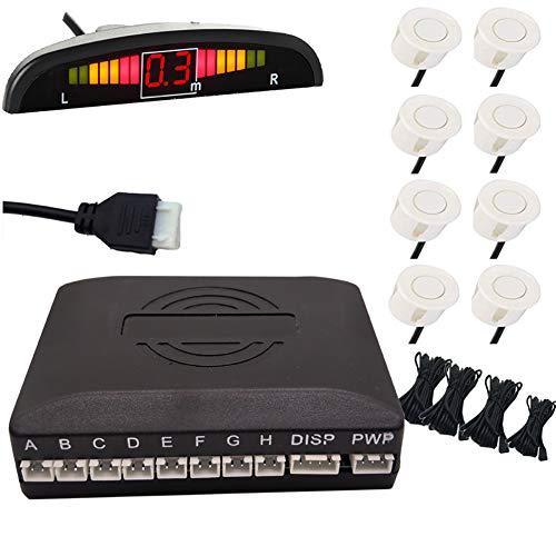 FENNGG Einparkhilfe mit Farb-Display und eingebauten Pieper inklusiv 8 Sensoren in schwarz für hinten