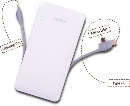 Intex 10000mAh High Capacity Polymer Power Bank with -C Type/Micro USB Cable IT-PB10K POLY-02