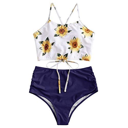 ZAFUL Damen Sexy Sonnenblume Drucken Schnüren Criss Cross Hoher Schnitt Bikini Set Badeanzug (L, BLAU 2) -