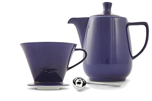 Friesland Melitta Kaffeefilter 102 1 Loch Porzellan blau + Kaffeekanne 0,6L + Kaffeemaßlöffel