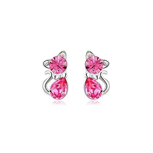 """Yparah - Boucles D'Oreilles Femme - """"Chat Rose"""" - Cristal de Swarovski"""