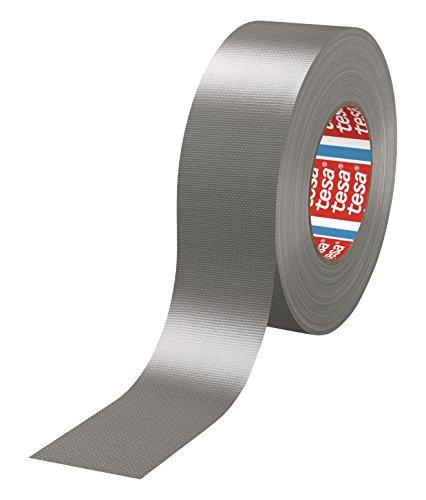 tesa 4688 - 18 Rollen (Gewerbliches Gebinde), PE-extrudiertes Standard Gewebeklebeband, 50m x 50mm, silber