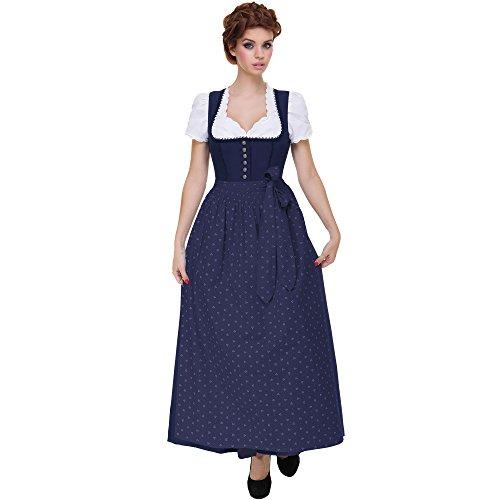 Almbock Dirndl Lang Hannah dunkelblau mit blauer Schürze in Gr. 36 38 40 42 44 46 - traditionelles Trachtenkleid mit Knöpfen am Mieder-teil