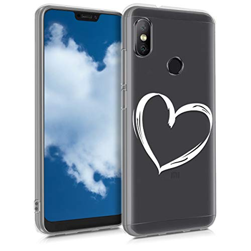 kwmobile Funda para Xiaomi Redmi 6 Pro/Mi A2 Lite - Carcasa de TPU para móvil y diseño Dibujo de corazón en Blanco/Transparente