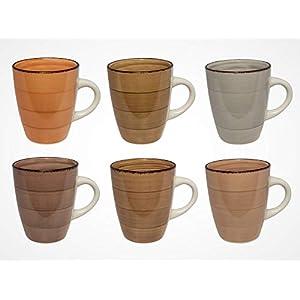 41FrMAVCZ7L. SS300  - MC Trend 6er Set Kaffeebecher - 6 wunderbare harmonische Farben 350 ml Porzellan-Tassen-Geschirr Kantine Küche zu Hause 350 ml
