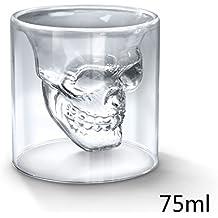 GIANCOMICS® Vasos de Vidrio Diseño de Calavera Vaso de Chupito con Hecho a Mano Copa de Cristal por Whisky Vodka Vino 70ML