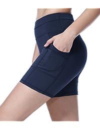 Sudawave femmes shorts d'entraînement à mailles pantalons courtes de yoga courants avec poche latérale