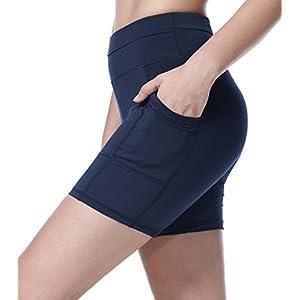Sudawave Damen Mesh Radlerhose Kurze Leggings Yogahose Sporthose Shorts mit Taschen für Fitness