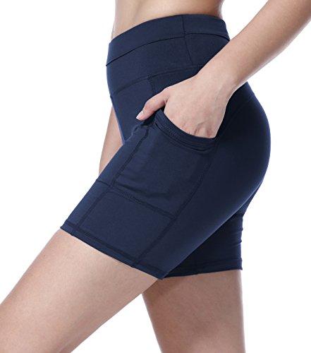 Blau-x-large Kurz (Sudawave Damen Mesh Radlerhose Kurze Leggings Yogahose Sporthose Shorts mit Taschen für Fitness (Dunkel Blau, X-Large))