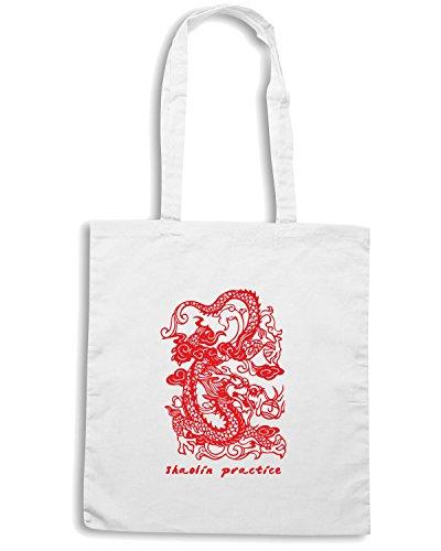 T-Shirtshock - Borsa Shopping T0405 SHAOLIN PRATICE arti marziali Bianco