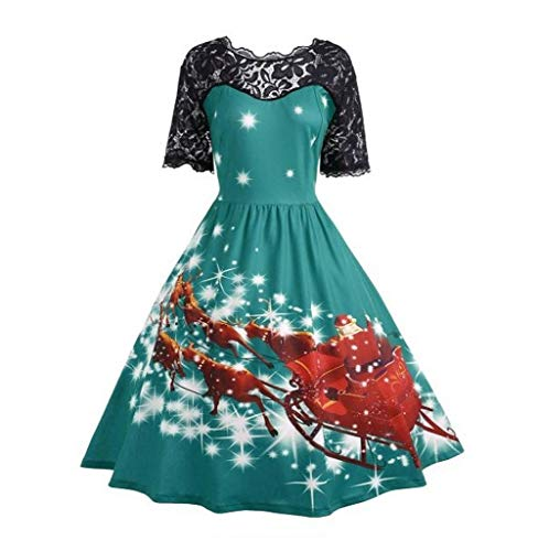 (Tomatoa-Kleid Damen Weihnachtskleid Print Ausgestelltes Midikleid Rockabilly Kleid Partykleider Cocktailkleider Festlich A-Linie Kleid Abendkleid Ballkleid Spitzenkleid)