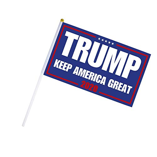 Aller Nationen Kostüm - Homeng 30 Stück President Donald Trump 2020 Flagge, Trump for President 2020, Keep America Great Flagï1'4'Trump 2020 Keep America, tolle Mini-Flagge mit weißem soliden Stab