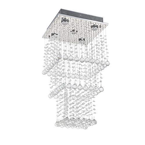 A1A9 Kristall Kronleuchter Moderne Regentropfen Kronleuchter Deckenleuchte Quadrat Pendelleuchte für Küche Esszimmer Wohnzimmer Schlafzimmer Angefordert 5 Lichter, L13.8 \'\' W13.8 \'\' H27.6 \'\'