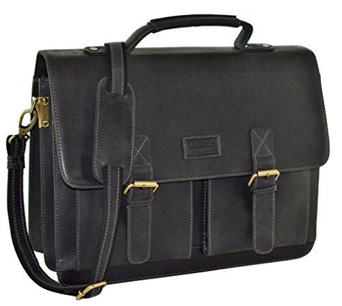 "MENZO Lederaccessoires ""Oxford"" Buffalo Vintage Leder, Lederaktentasche, Umhängetasche, Messengerbag, Businesstasche, Lehrertasche, Überschlagtasche, Notebooktasche (schwarz) -"