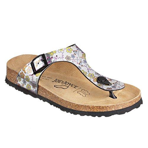 JOE N JOYCE Rio SynSoft Mirror sottopiede morbido Flower sandali Normale Silver Pink/Yellow