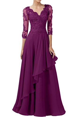La_mia Braut Damen Chiffon V-ausschnitt Spitze Langarm Abendkleider Brautmutterkleider Festlichkleider Lang Fuchsia