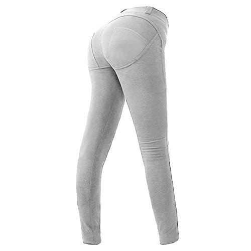 Minetom Damen Elegant Elastische Leggings Stretchy Hosen Push Up Hüfte Leggings Butt Lift Pants Casual Skinny Jeans Jeans Grau EU XL (Butt-lift-effekt)