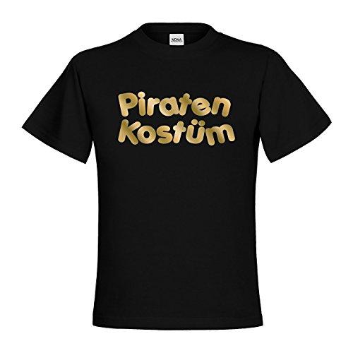 MDMA Kids Kinder T-Shirt Piraten Kostüm mdma-kt00424-11 Textil black / Motiv gold Gr. 98/104