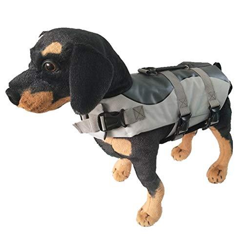 MISSMAO Hunde Life Jacket Hunde Warnweste Hunde-Schwimmweste Schwimmhilfe Float Coat Life Preserver Schwarz S