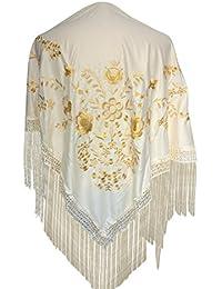 La Señorita Mantones bordados Flamenco Manton de Manila blanco oro L
