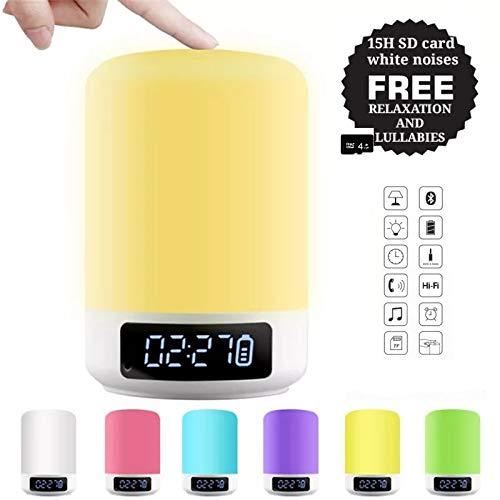 White Sounds Bluetooth Nachtlicht SD wiederaufladbare tragbare Lautsprecher Multicolor