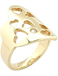 Bijoux pour tous - Anillo de bañado en oro con zirconia