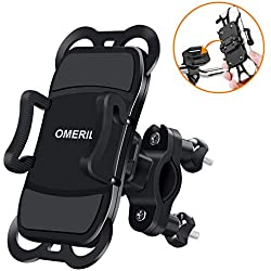 "OMERIL Soporte Movil Bicicleta y Moto, Anti Vibración Soporte Movil Bici Desmontable, 360° Rotación Soporte para iPhone X/Xr/Xs/8/7/6, Samsung S9/S8, Huawei P30/P20, GPS y 3.5""- 6.3"" Dispositivos"