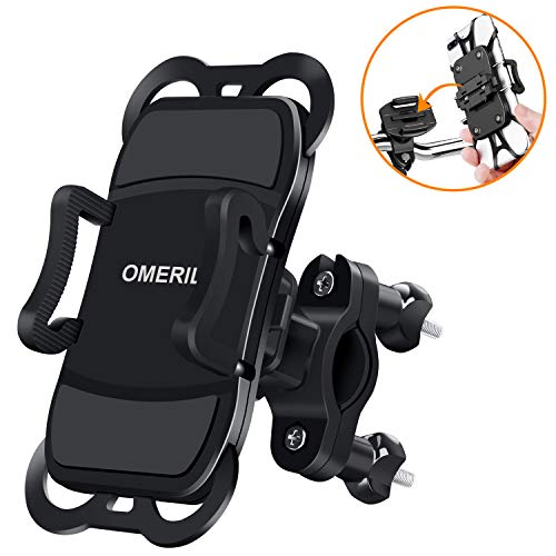 Handyhalterung Fahrrad Abnehmbare OMERIL 360° Drehbare Motorrad Handyhalterung Universal für iPhone X/ Xr/ Xs/ 8/ 7/ 6 Plus, Samsung Galaxy S8/S9/S10/A5, Huawei P30/P20 und alle 3,5-6,5 Zoll Handys