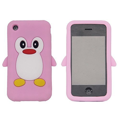 Tsmine Apple Ipod Touch 4. Generation Pinguin-Karikatur-Fall - Cute 3D Penguin Weiche Silikon-Rückseite waschbar Cover Case Schutzhülle für iPod Touch 4. Gen., Baby Pink (Pinguin-ipod-fall)