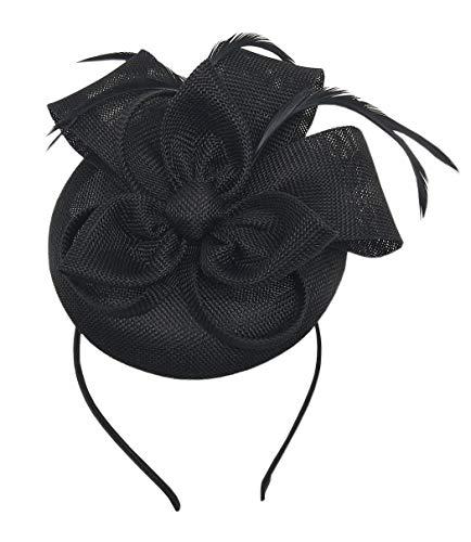 Coolwife Fascinators Pillbox Hut Sinamay Feder Blume Derby Ball Hochzeit Kirche Party Haarspange (Schwarz) (Grüne Derby Kind Hat)