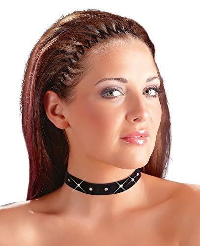 Cottelli Collection Acessoires- elastischer Halsschmuck für Frauen, elegantes Halsband aus Samt mit glitzernden Strass-Steinen, Choker mit Klettverschluss, schwarz