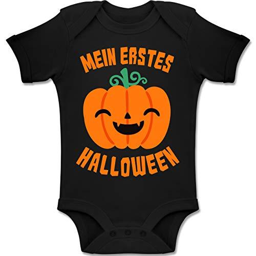 Shirtracer Anlässe Baby - Mein erstes Halloween Kürbis - 3-6 Monate - Schwarz - BZ10 - Baby Body Kurzarm Jungen Mädchen