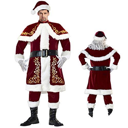 shuhong Weihnachtskleidung Herren/Damen Deluxe Velour Santa Anzug, Damen Weihnachtsmann, Weihnachten, Warmhalten 10-teiliges Kostüm, M-4XL,A-2XL