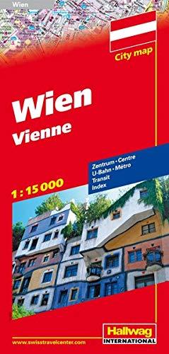 City map Wien 1 : 15 000: Zentrum, U-Bahn, Transit, Index (Hallwag Stadtpläne)