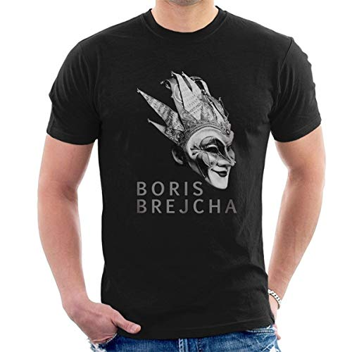 Boris Brejcha Mask T-Shirt Dj High-tech Minimal Techno Music Men's Fashion Crew Neck Short Sleeves Cotton Tops Clothing, Black - Black Ink Bekleidung
