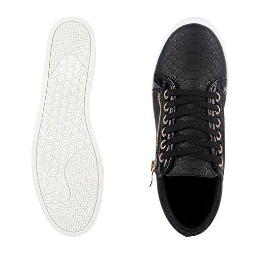 Damen Sneakers Low Lack Freizeit Schuhe Turnschuhe Kroko Schwarz